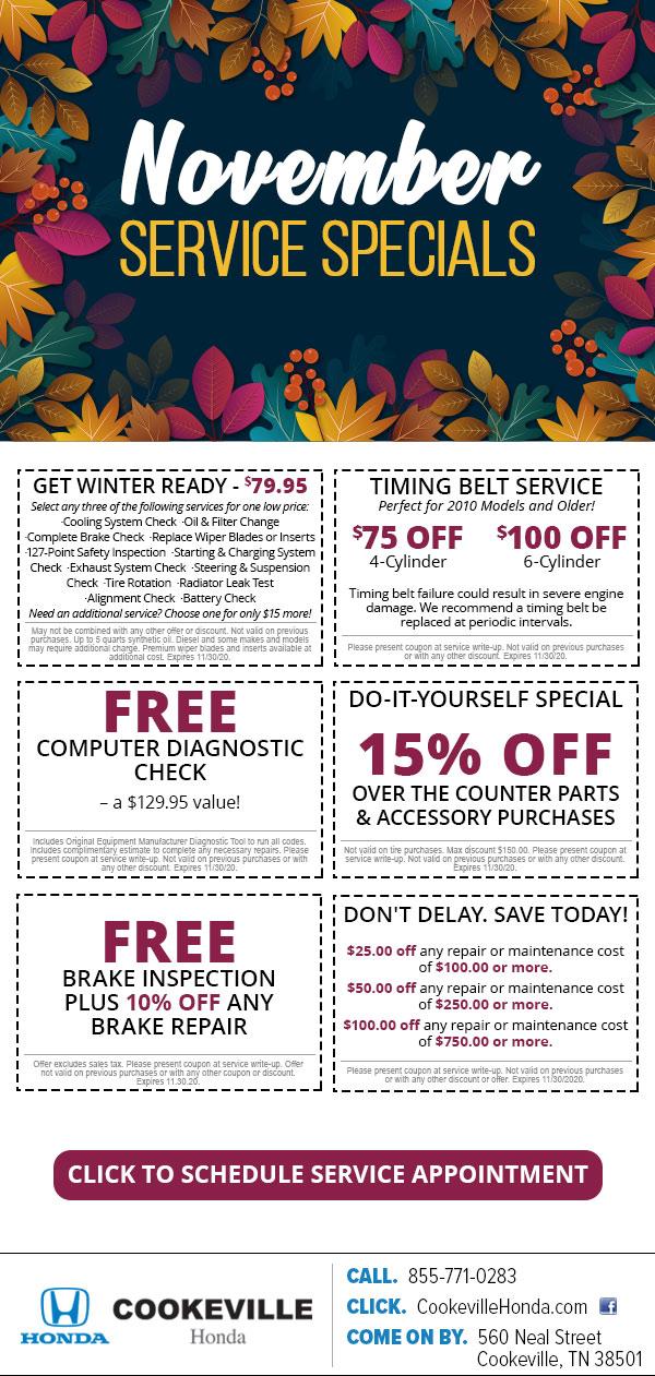 November Service Specials