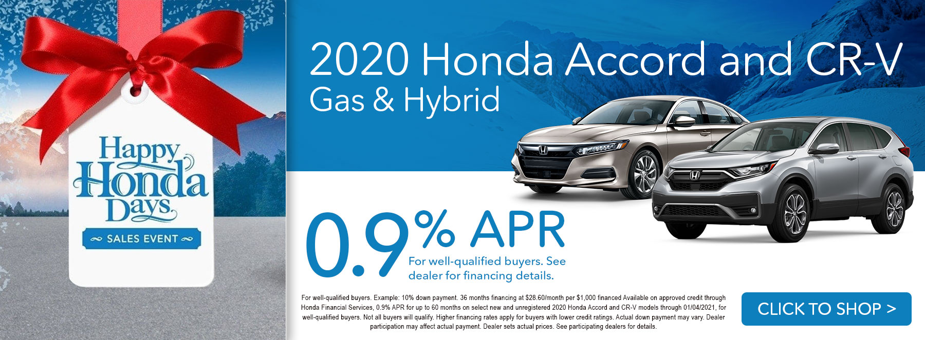 2020 Honda Accord and CR-V - 0.9% APR