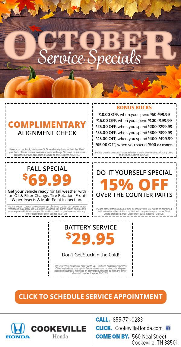 October Service Specials